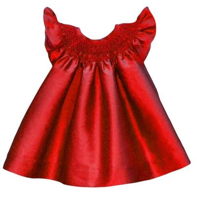Tartine et Chocolat Isabel Garreton Sleeveless Red Silk Smock Dress
