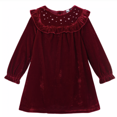 3 Pommes 3 Pommes Burgundy velvet dress