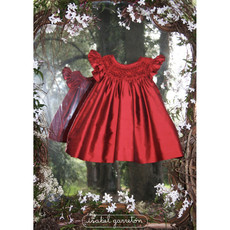 Tartine et Chocolat Isabel Garreton Sleeveless Red Silk Smock Dress