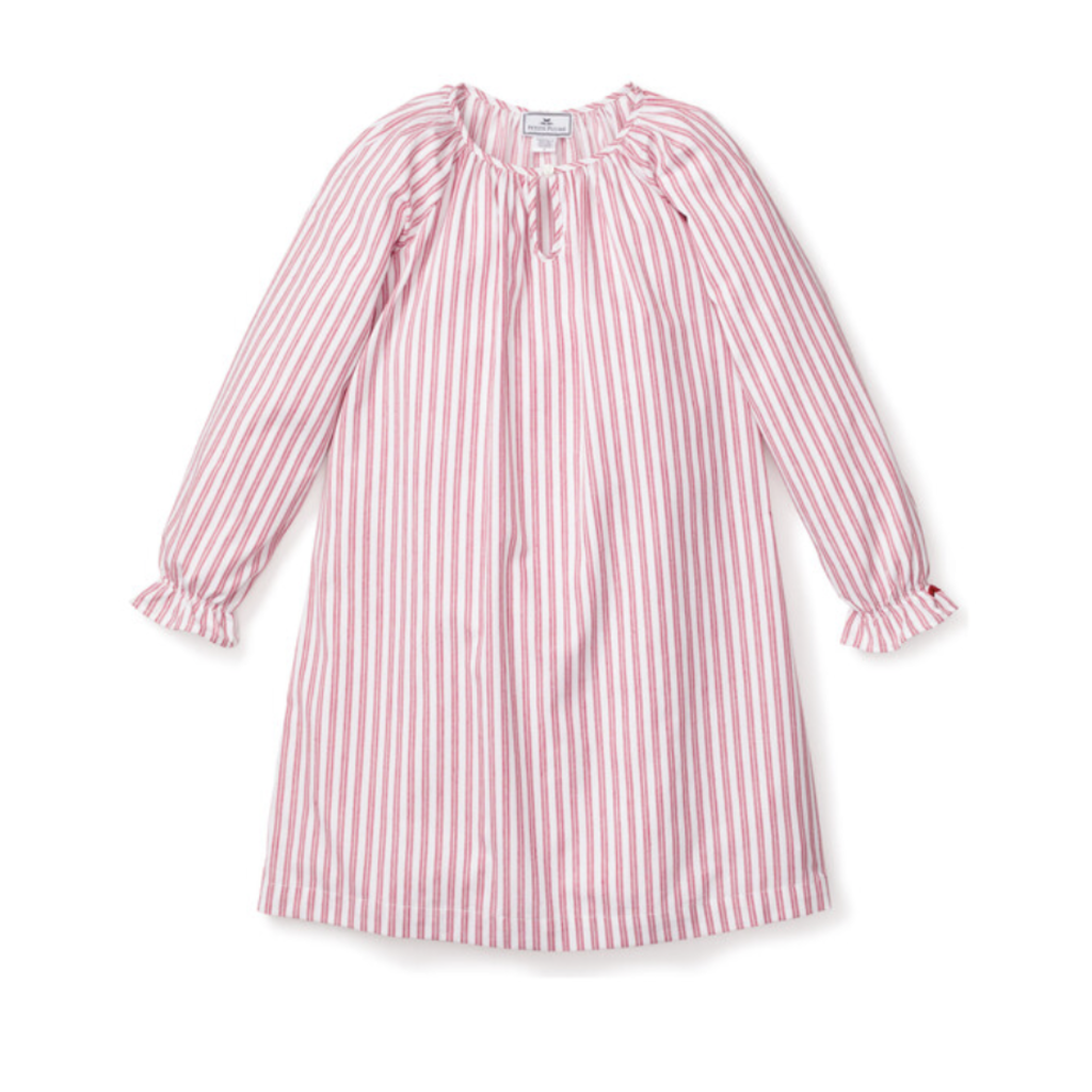 Petite Plume Petite Plume Delphine red stripe nightgown