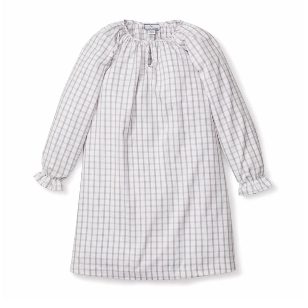 Petite Plume Petite Plume Delphine  Tattersall Grey Nightgown