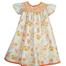 Isabel Garreton Isabel Garreton Multi Orange Smocked Dress