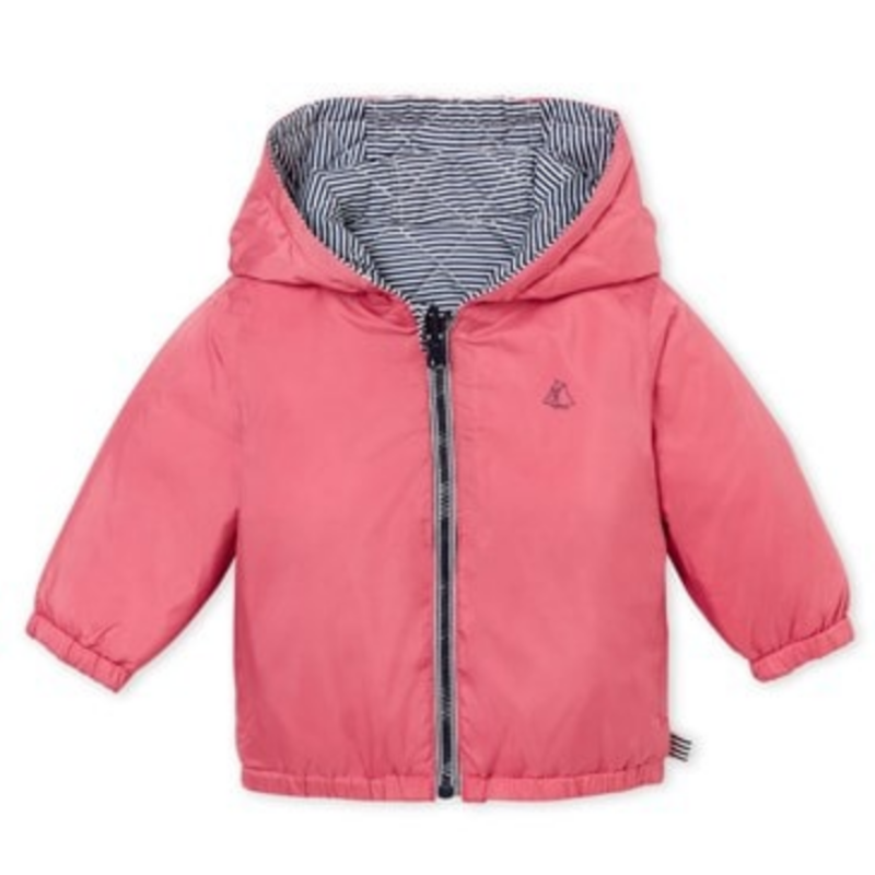Petit Bateau Petit Bateau Pink Hooded Reversible Jacket