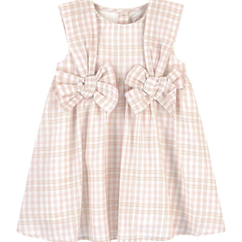 Lili Gaufrette Lili Gaufrette Dress Pink Check Bows Gemma