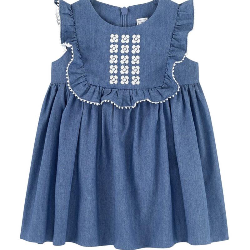 Tartine et Chocolat Tartine Bleu Chambray Chasuble Dress