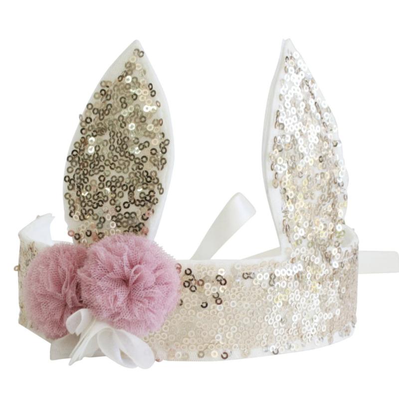 Alimrose Alimrose Gold Sequin Bunny Crown