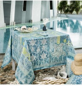 """Beauville Beauville Tablecloth Rialto 67""""x95"""" Turquoise"""
