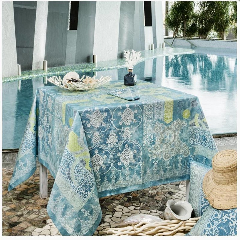 "Beauville Beauville Tablecloth Rialto 67""x95"" Turquoise"