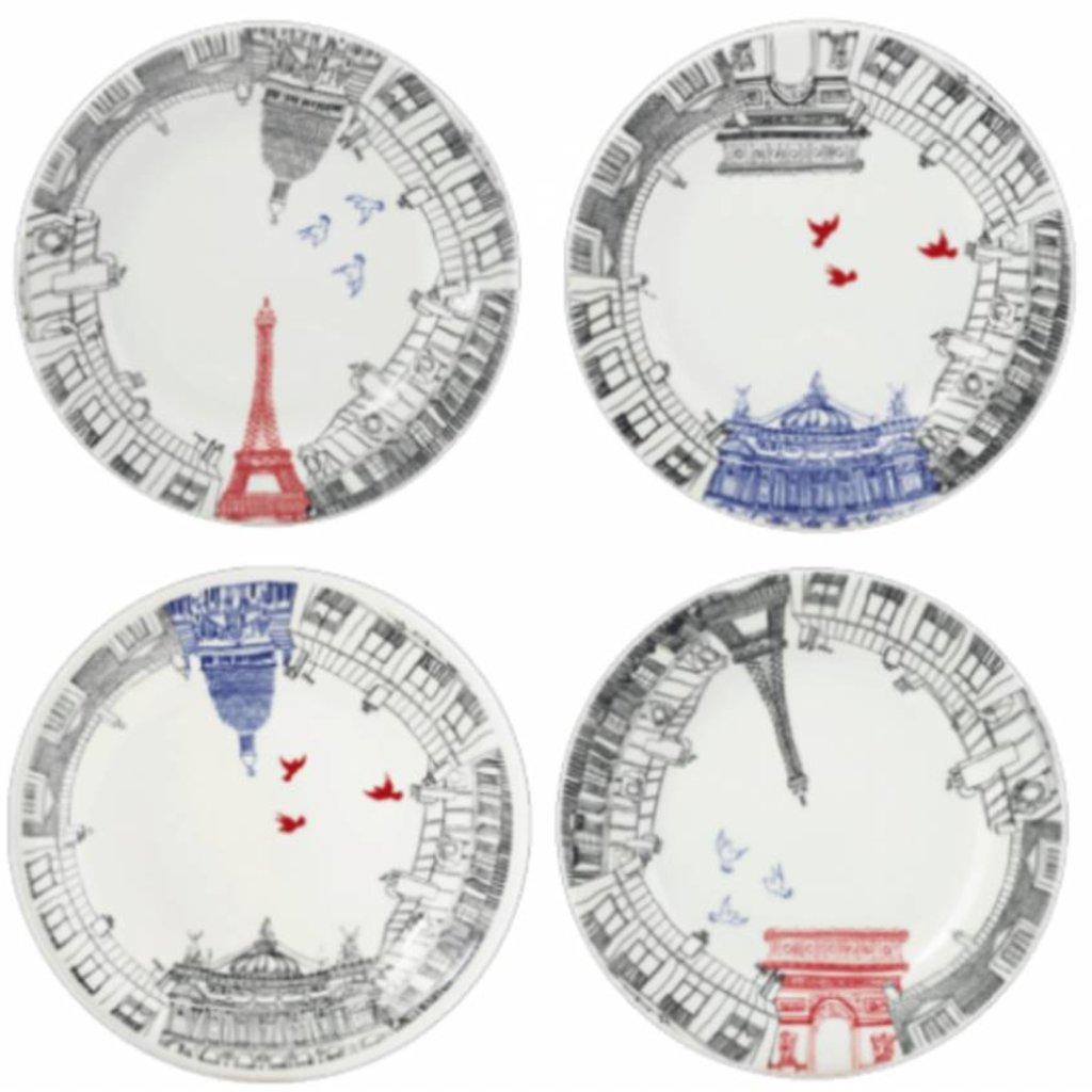 Gien Gien Ca Cest Paris Dessert Plates Set of 4