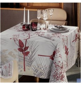 "Beauville Beauville Tablecloth Caucase 67""x122"" Pearl"