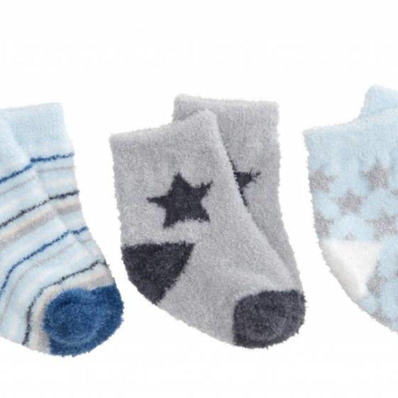 Elegant Baby Elegant Baby Fuzzy Socks 3 Pack Blue