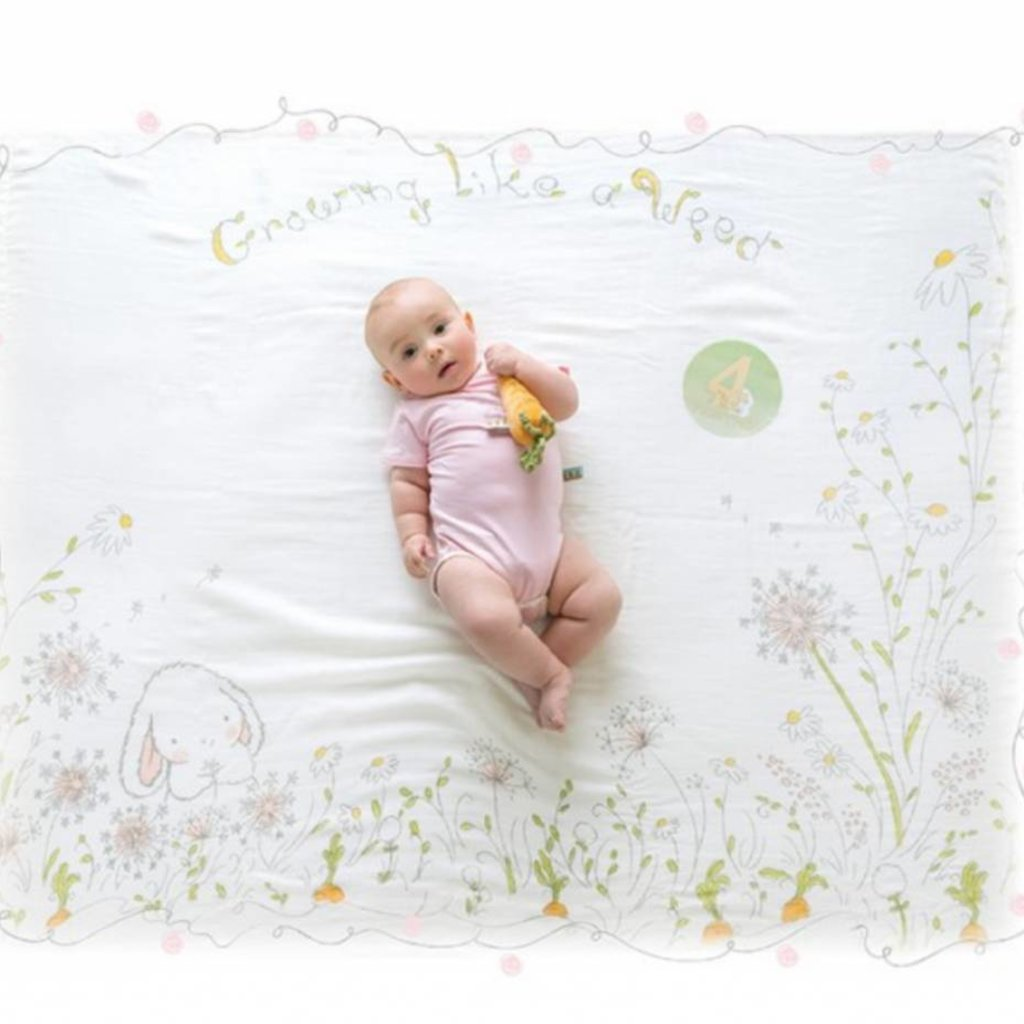 not tracked Bunnies By The Bay Milesstone Swaddle Blanket