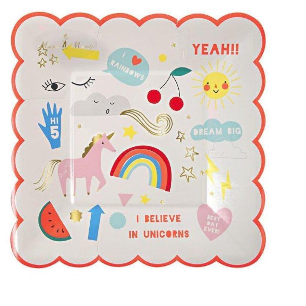 Meri Meri Meri Meri Party Plates Unicorns S/12