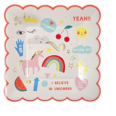 Meri Meri Meri Meri Party Plates Unicorns S/12