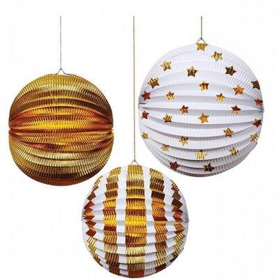 Meri Meri Meri Meri Paper Globes S/3 Gold Foil