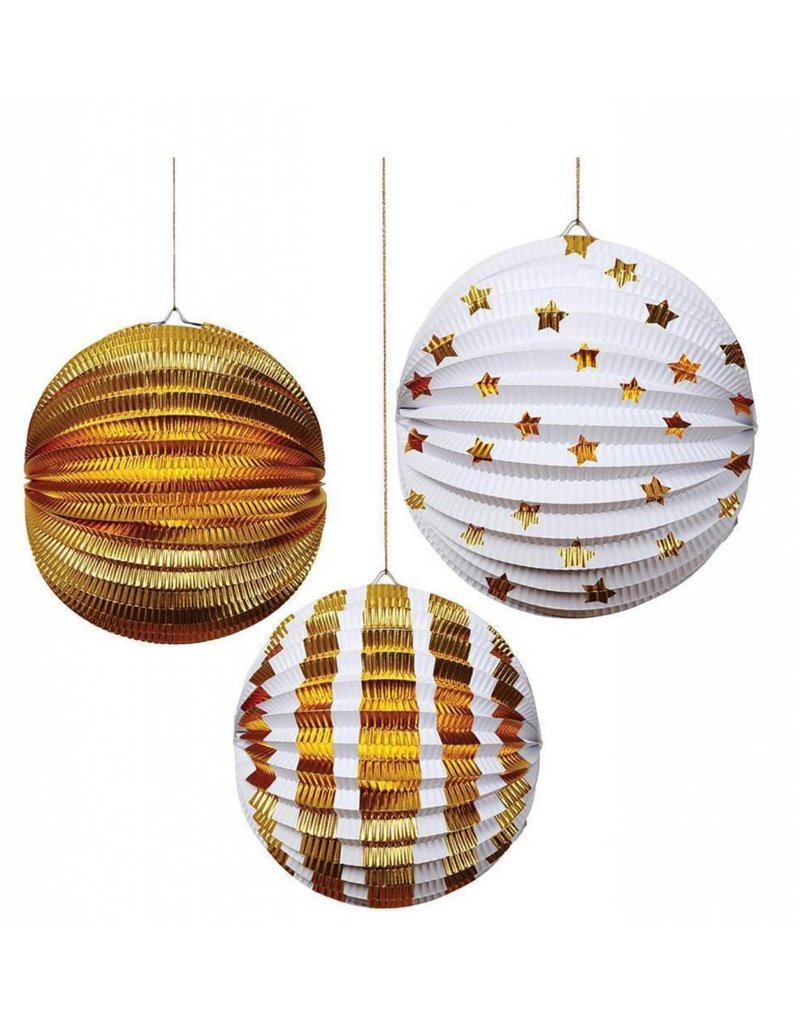 Meri Meri MERI Paper Globes S/3 Gold Foil