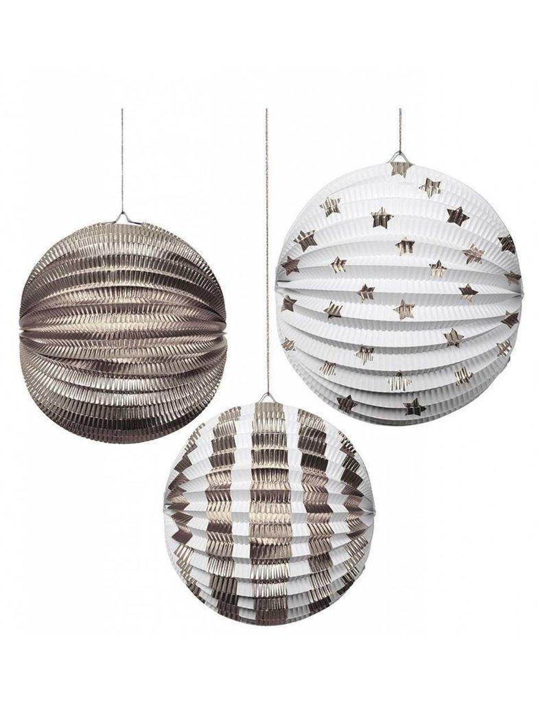 Meri Meri MERI Paper Globes S/3 Silver Foil