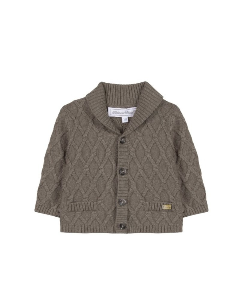 Tartine et Chocolat Tartine Cardigan  Boy Brown Diamond Pattern W18 TM18171
