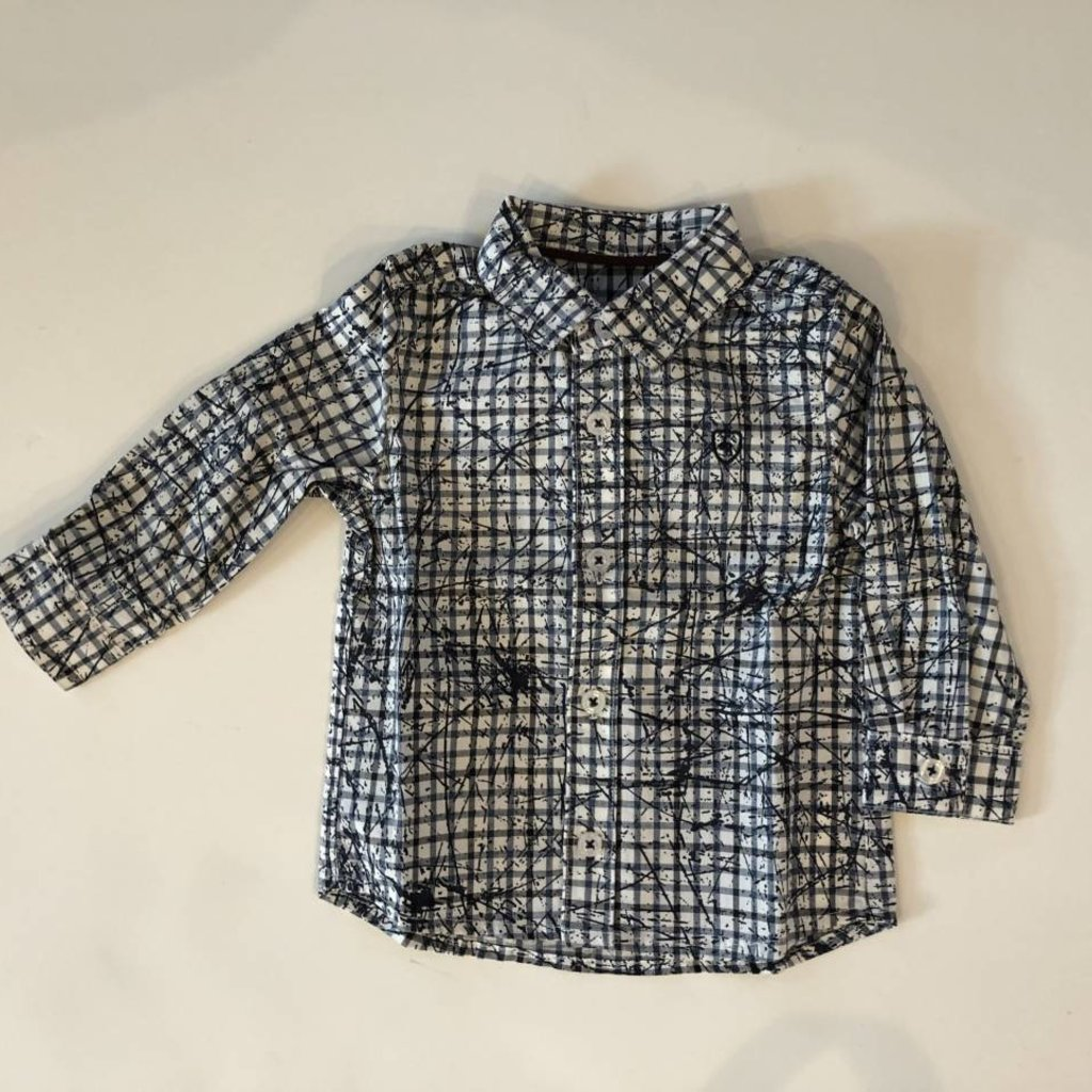 Jean Bourget Jean Bourget Long Sleeve Check Shirt - Navy