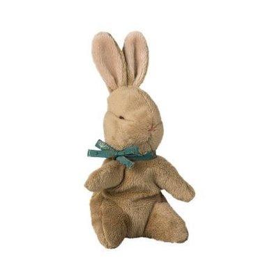Maileg Maileg: Brown Baby Bunny w/ Blue Ribbon