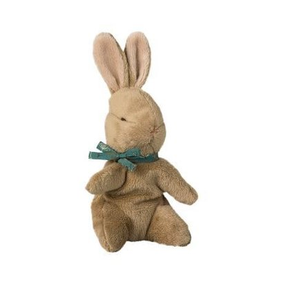 Maileg Maileg: Brown Baby Bunny w/ Blue Ribbon