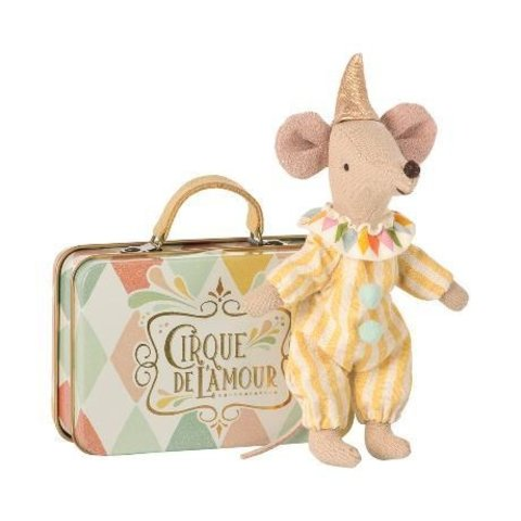 Maileg: Clown Mouse in Suitcase
