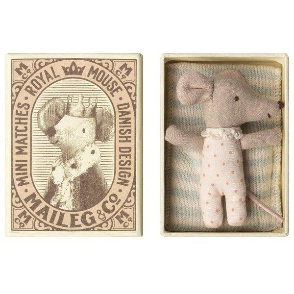 Maileg Maileg: Mouse Baby Sleepy/Wakey in Box Girl