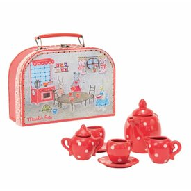 Moulin Roty Moulin Roty: Red Ceramic Tea Set