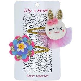 Lily and Momo Lily and Momo: Bouncing Bunny Glitter Gold Hairclip