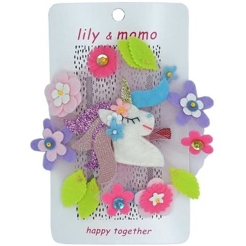 Lily and Momo: Forest Unicorn Hairclip Pastel Pink and Lilac