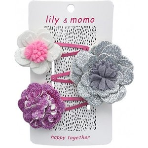 Lily and Momo Lily and Momo: Magic Sparkle Flower Trio Hair Clip Sparkle Silver/Pink
