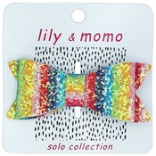 Lily and Momo Lily and Momo:Glitter Bow Hair Clip Rainbow