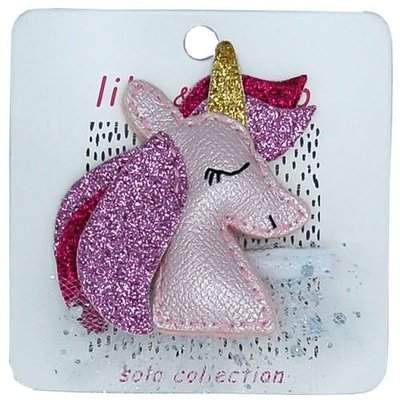 Lily and Momo Lily and Momo:Pretty Pink Unicorn Hair Clip- Pastel Pink