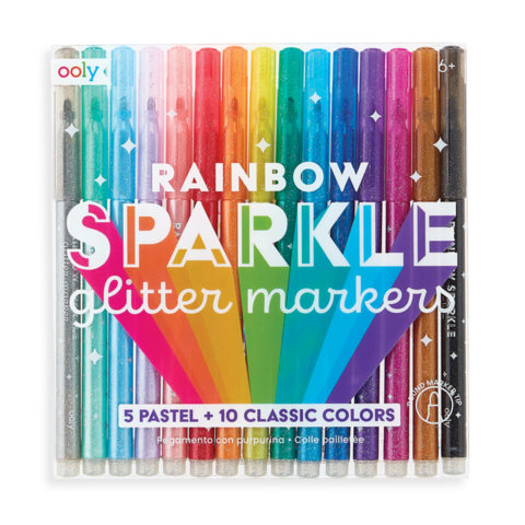 Ooly: Rainbow Sparkle Glitter Markers - Set of 15