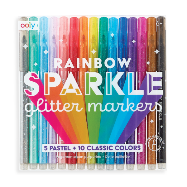 Ooly Ooly: Rainbow Sparkle Glitter Markers - Set of 15