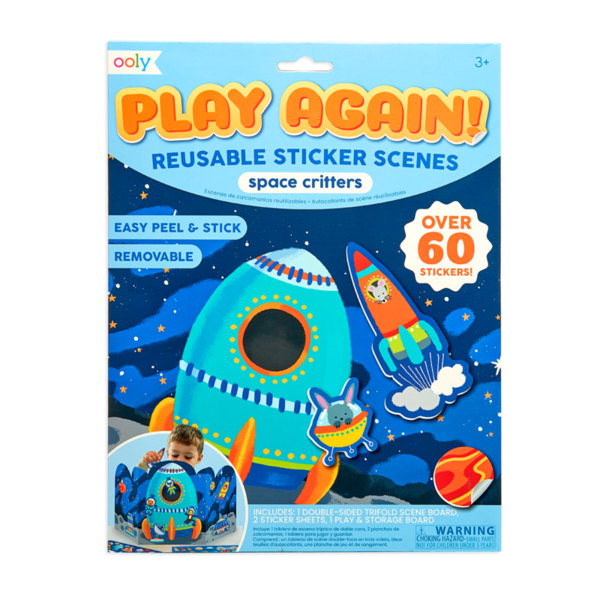 Ooly Ooly: Play Again! Reusable Sticker Scenes: Space Critters