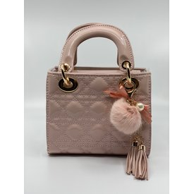 Doe A Dear Doe A Dear:Quilted Cannage Top Handle Bag with Tassels and Pom Key Chain Pink