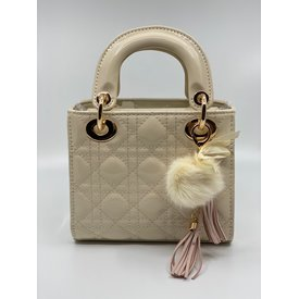 Doe A Dear Doe A Dear:Quilted Cannage Top Handle Bag with Tassels and Pom Key Chain Ivory