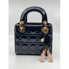 Doe A Dear Doe A Dear:Quilted Cannage Top Handle Bag with Tassels and Pom Key Chain Black