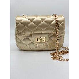 Doe A Dear Doe A Dear:Diamond Quilted Cross Body Bag with Twist Closure Gold