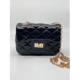 Doe A Dear Doe A Dear:Diamond Quilted Cross Body Bag with Twist Closure Black