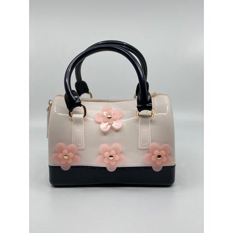 Doe A Dear:Flowers Barrel Jelly Hand Bag Black/Ivory
