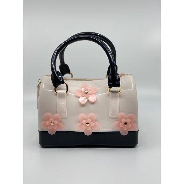 Doe A Dear Doe A Dear:Flowers Barrel Jelly Hand Bag Black/Ivory