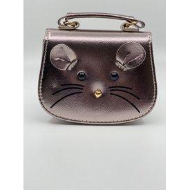 Doe A Dear Doe A Dear: Gold Patent Mouse Face Handbag