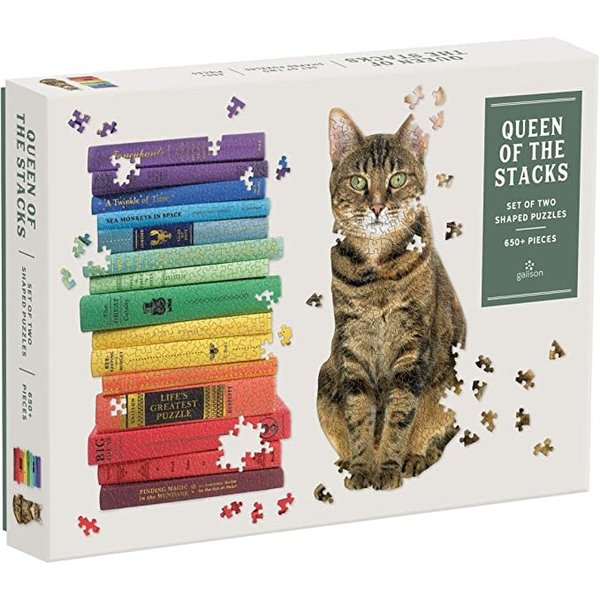 Mudpuppy Chronicle: Puzzle Queen of the Stacks  2 shaped puzzles 650+ pcs