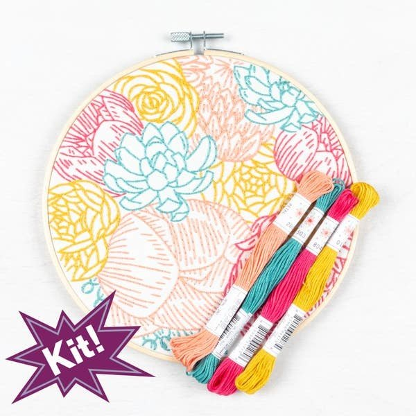 "PopLush Embroidery PopLush: Floral Profusion 8"" Emroidery Kit"