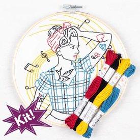 """PopLush Embroidery PopLush: Rockin' Rockabilly 8"""" Emroidery Kit"""