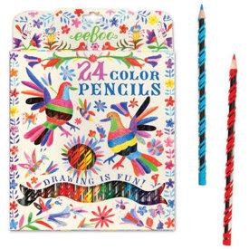 eeBoo: Oaxaca Birds 24 Colored Pencils
