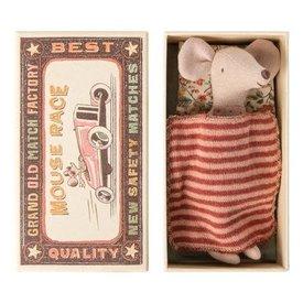 Maileg Maileg: Big Sister Mouse in Matchbox- Polka Dot Shirt