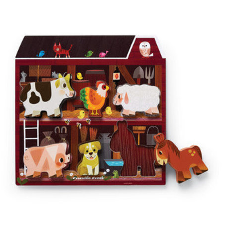 Crocodile Creek: 6pc Let's Play Wood Puzzle On The Farm